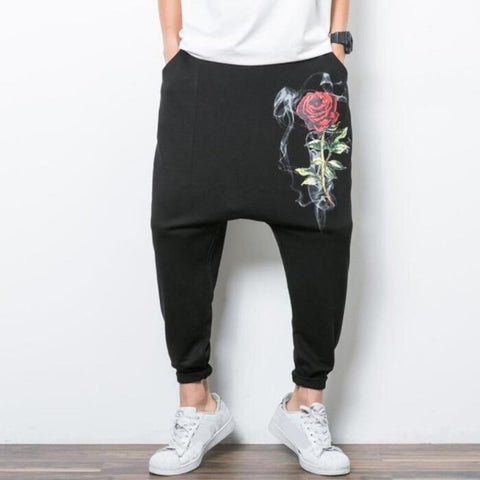 Black Baggy Flower Pants