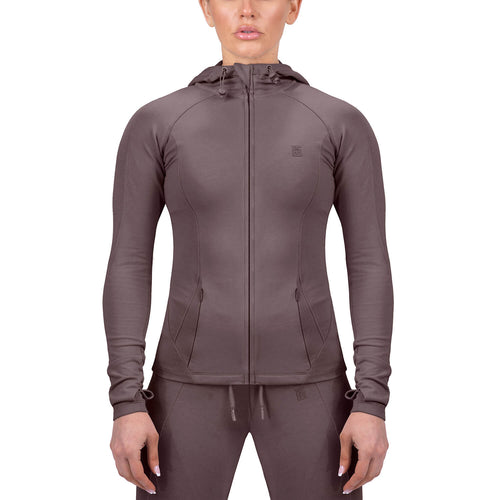 Born Tough Women Contoured Tracksuit Hoodie Ash Brown