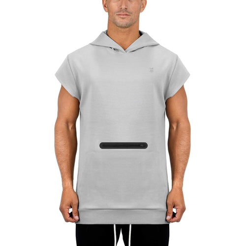 Born Tough Men Capped Sleeve Hoodie Metal Gray