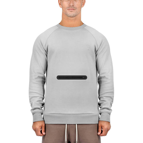 Born Tough Men Side-Zip Drop Pocket Crewneck Metal Gray