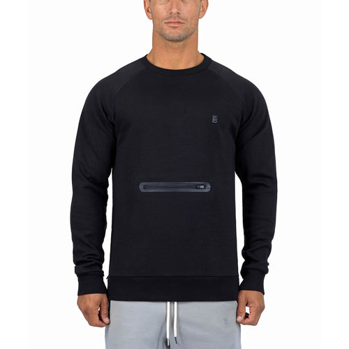 Born Tough Men Side-Zip Drop Pocket Crewneck Black