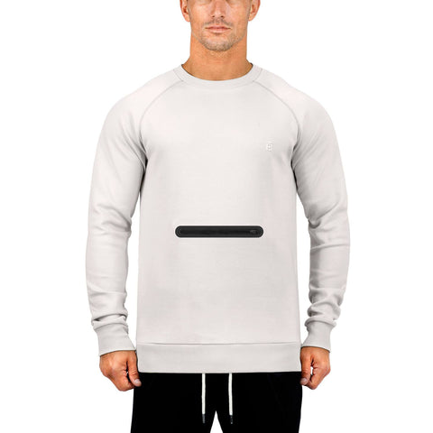 Born Tough Men Side-Zip Drop Pocket Crewneck Stone