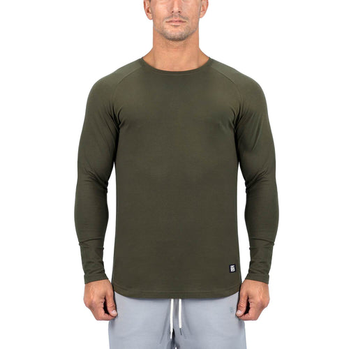Born Tough Men Core Fit LS Shirt Army Green