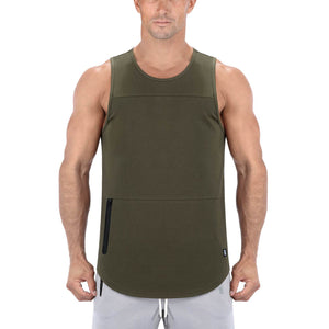 Born Tough Men Zippered Tank Army Green