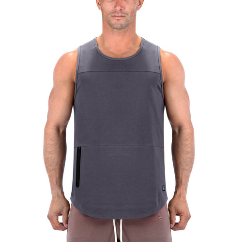 Born Tough Men Zippered Tank Gray