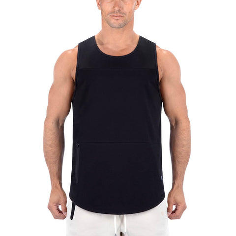 Born Tough Men Zippered Tank Black