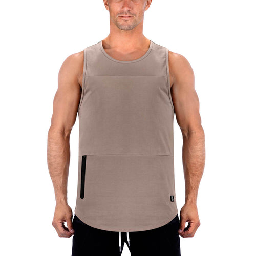 Born Tough Men Zippered Tank Lunar Rock