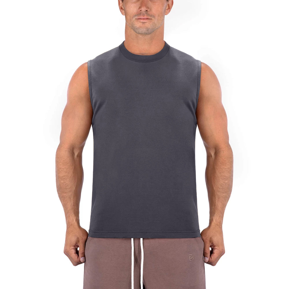 Born Tough Men Sleeveless Shirt Gray