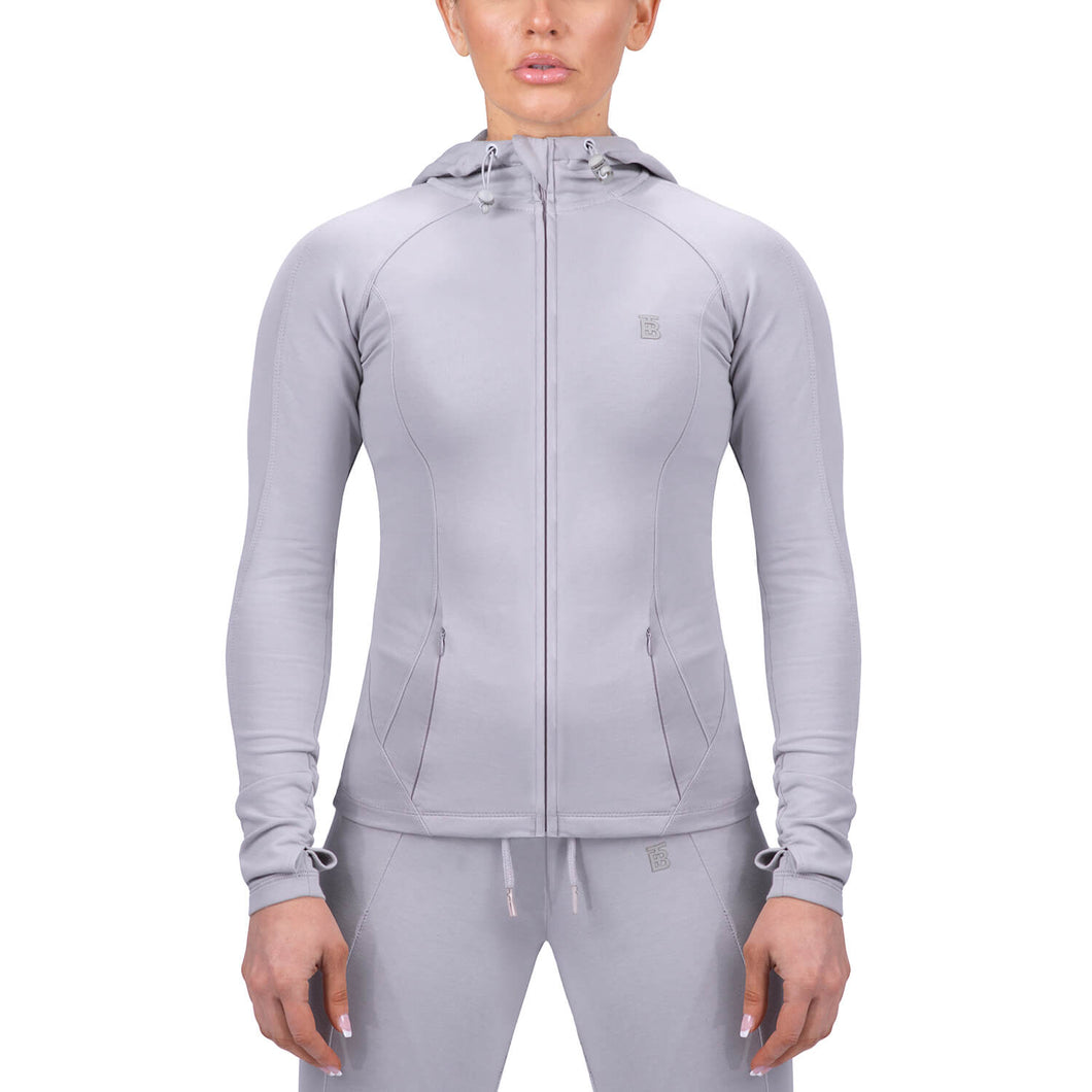 Born Tough Women Contoured Tracksuit Hoodie Gray