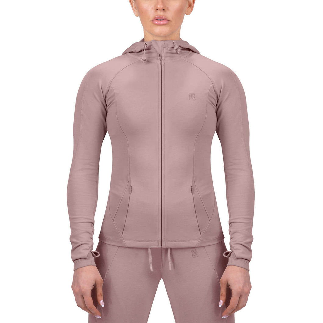 Born Tough Women Contoured Tracksuit Hoodie Rose