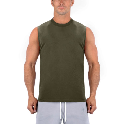 Born Tough Men Sleeveless Shirt Army Green