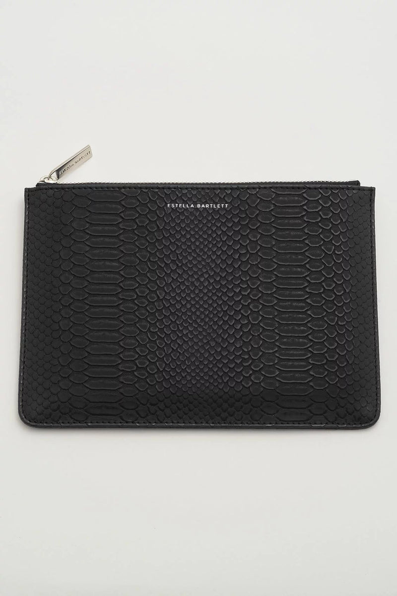 Estella Bartlett Medium Pouch Black Snake Effect