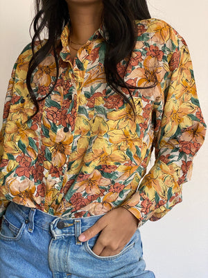 Vintage Silk Floral Button Up Blouse