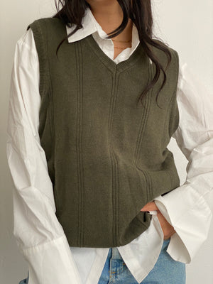 Vintage Olive Knit Sweater Vest
