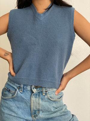 Vintage Blue Crop Sweater Vest