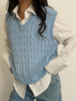 Vintage Baby Blue Knit Sweater Vest