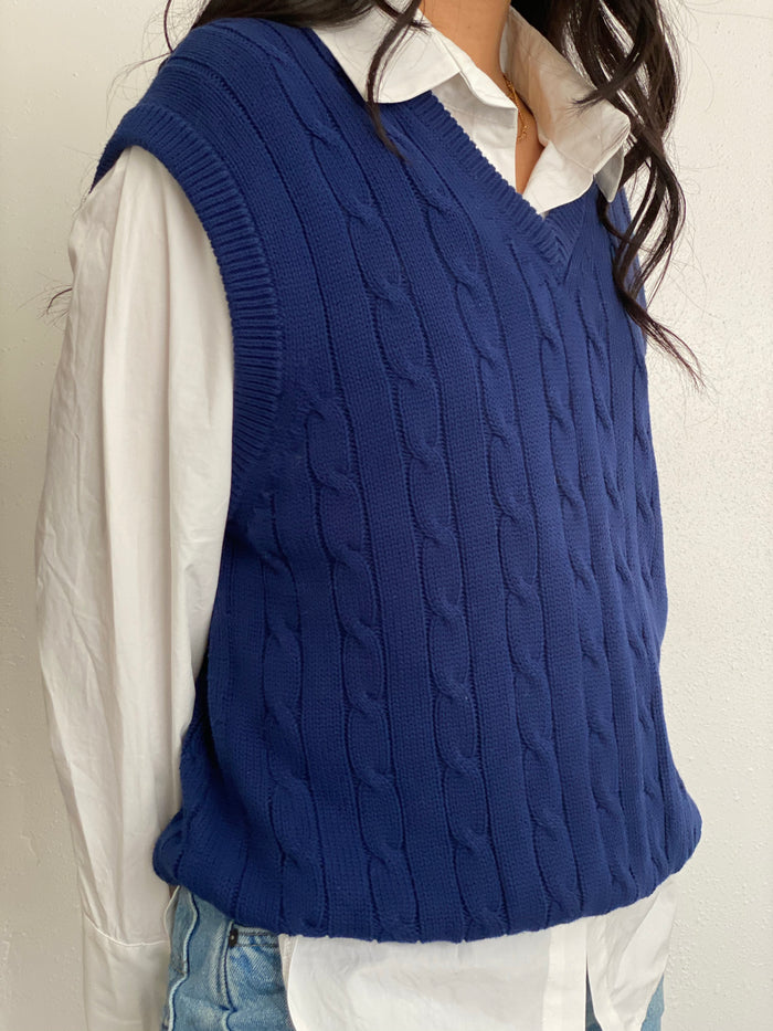 Vintage Navy Knitted Sweater Vest