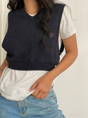 Vintage Navy Crop Sweater Vest
