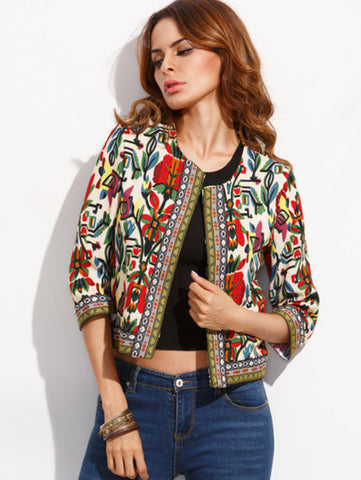 Multicolor Tribal Print Outwear With Embroidered