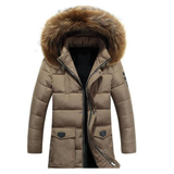Mens Military Style Winter Faux Fur Hooded Coat in Khaki