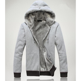 Mens Zipped Up Hoodie With Inner Winter Lining Layered in Gray
