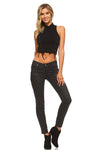 Women's High Neck Tie Crop Top