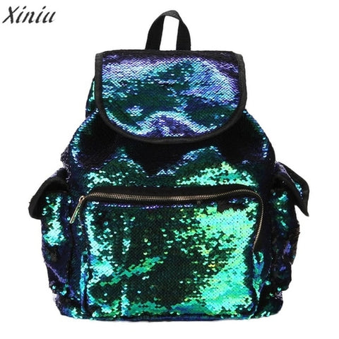 Mochila Feminina Backpack Women Double Color shiny