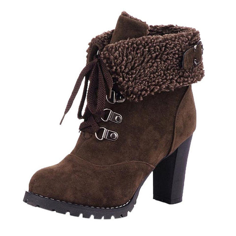 Winter Lace-Up High Thick Short Boots Shoes Women