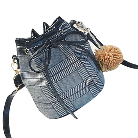 Women Messenger Bags Fashion Wool Plaid Bucket
