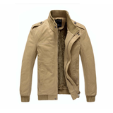 Mens Stand Collar Jacket with Inner Layered Army Green