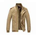 Mens Khaki Stand Collar Jacket With Inner Warming Layered