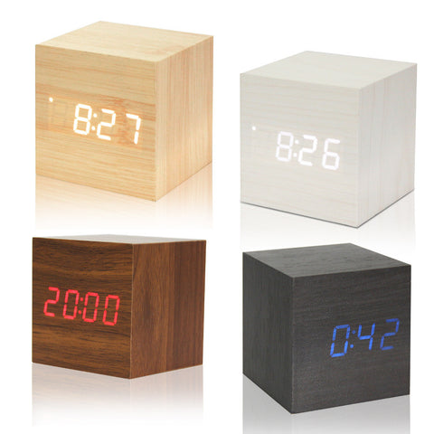 USB/AAA Powered Cube LED Digital Alarm Clock Square Modern Wood Clock Thermometer Temp Date Display Calendars Desk Table Clock