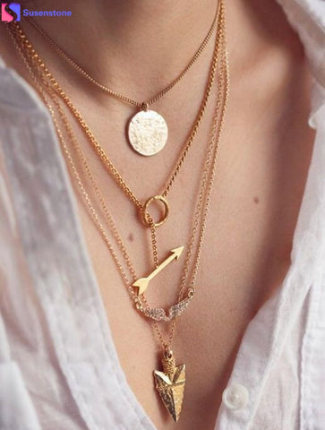 SUSENSTONE Fashion Women Necklaces Multilayer Irregular Crystal Gold
