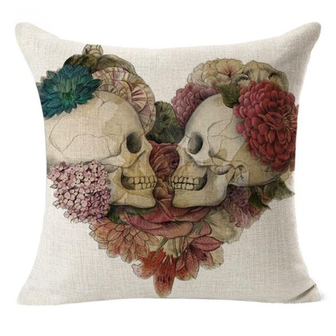 Linen Decorative Cushion Covers Vintage Skull Throw Pillow Cases for Sofa