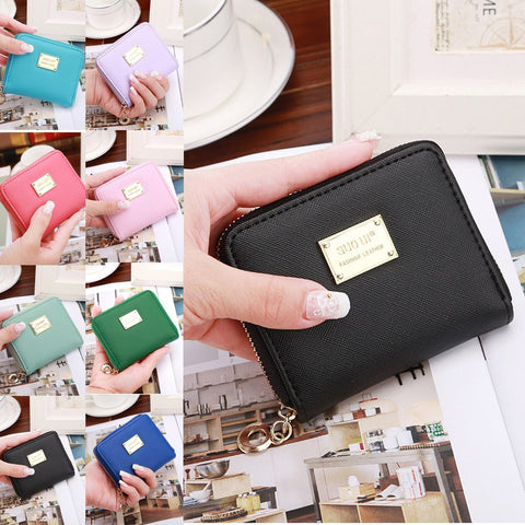 Women Leather Small Wallet Card Holder Zip Coin Purse Clutch Handbag