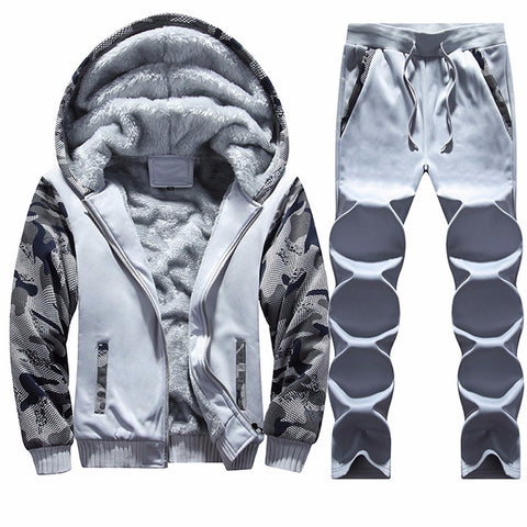 Mens Tracksuit Warm Fleece Sport Hooded Sweatshirt Coat Hoodies+Pants Sweat Suit