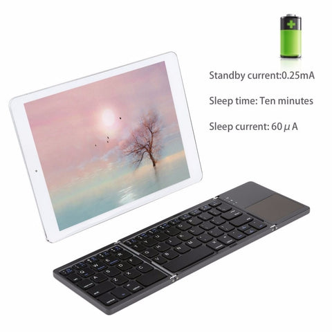 Foldable Bluetooth Keyboard with Touchpad Pocket