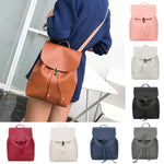 Vintage Pure Color Leather School Bag Backpack Satchel Women Trave Shoulder Bag