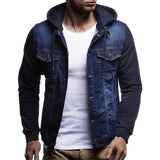 Mens' Autumn Winter Hooded Vintage Distressed Demin Jacket Tops Coat Outwear