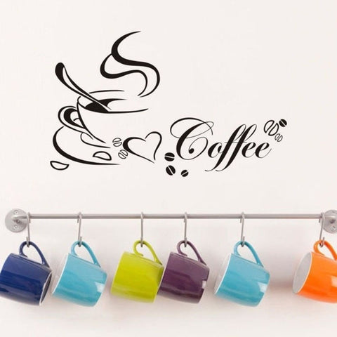 Romantic DIY Coffee Cup Heart Beauty Removable Wall Sticker