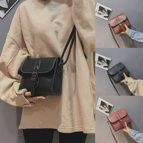 Women Girl Fashion Vintage Buckle Flap Bag Crossbody Shoulder Bag