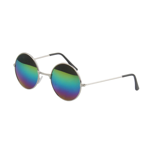 Ultra Light Sunglasses Hippie Round Metal Eyeglasses Glasses Eyewear Unisex Glasses with Nickel Frames and Color Changing Lens