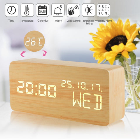 Wood Alarm Clock,Digital Clocks for Bedrooms, Voice Command,  Multifunction