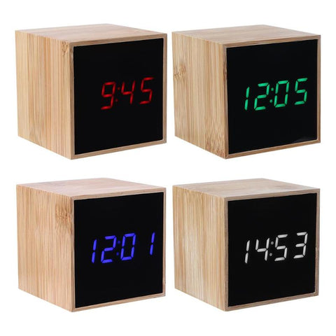 USB Digital LED Desk Alarm Clock Sound Control Clock