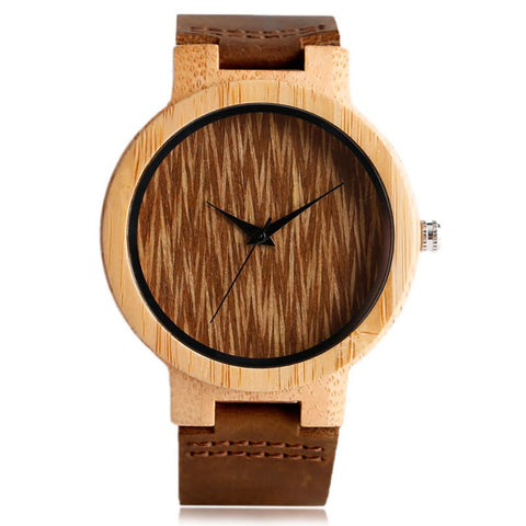 Vintage Watch Creative Wooden Watches Bamboo Handmade Clock-Coffee
