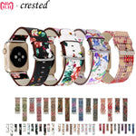 Floral Printed Leather Watchband for Apple Watch