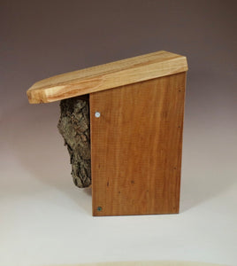 Bluebird Box, side view of Rustic Bluebird Birdhouse, Hand-made Bluebird Box