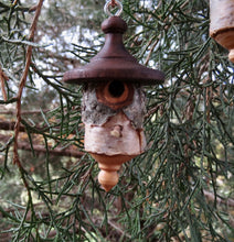 Birdhouse Ornament, Black Walnut and White Birch