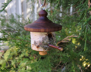 White Birch and Black Walnut birdhouse ornament