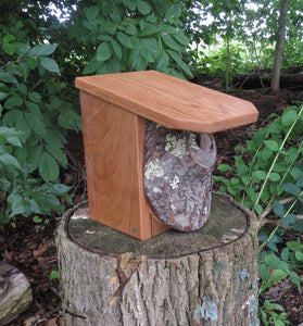 Bluebird House, Rustic Bluebird Birdhouse, Red Oak Roof, Cherry Knot and Sides Birdhouse
